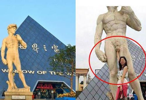 长沙仿大卫裸身雕像遭女游客咸猪手 网友表示 惊了图片