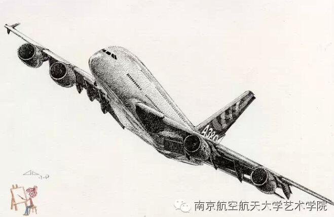 女生手绘飞机惊艳网友