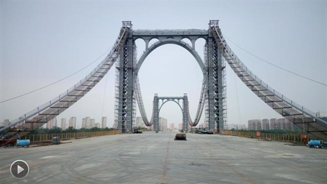 """【视频】沈阳""""最美浑河桥""""桥面贯通 8月底有望通车"""