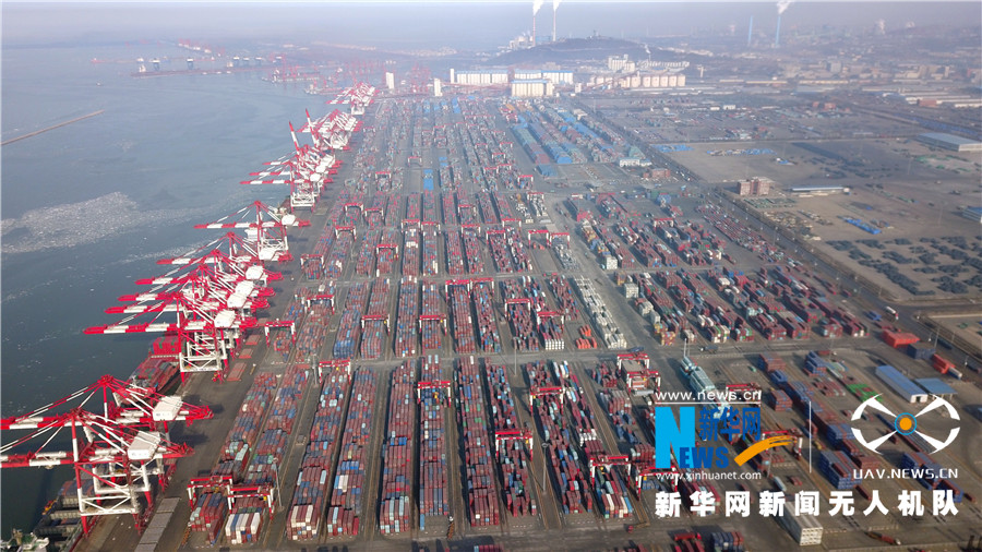 航拍絲綢之路經濟帶東線重要樞紐——百年營口港