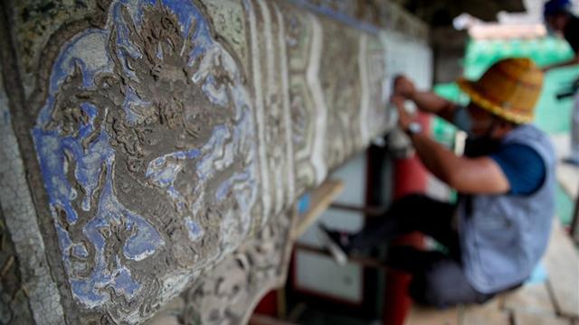 沈陽故宮:修復古建築油飾彩畫