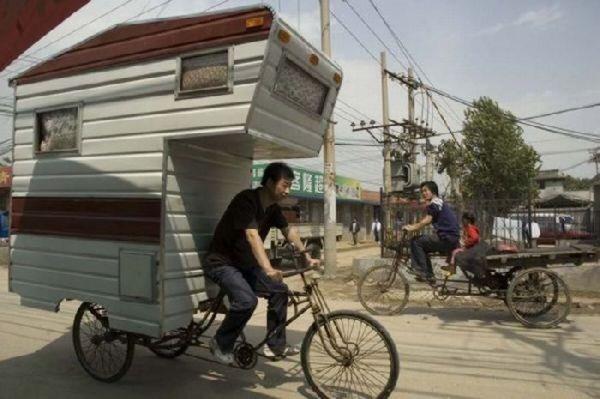 很有创意哈!中国式三轮房车!